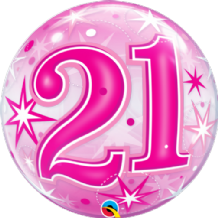 "21 Pink Starburst Bubble Balloon (22"") 1pc"